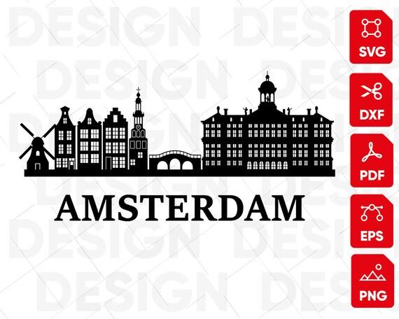 AMSTERDAM SVG, City svg, skylines, landscape, monuments, metropolis, city  scape, vector, silhouette, clipart, stencil, vinyl, cut file