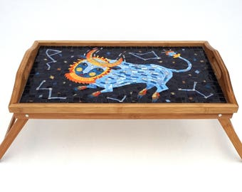 Taurus on Stellar Sky Glass Mosaic Serving Tray