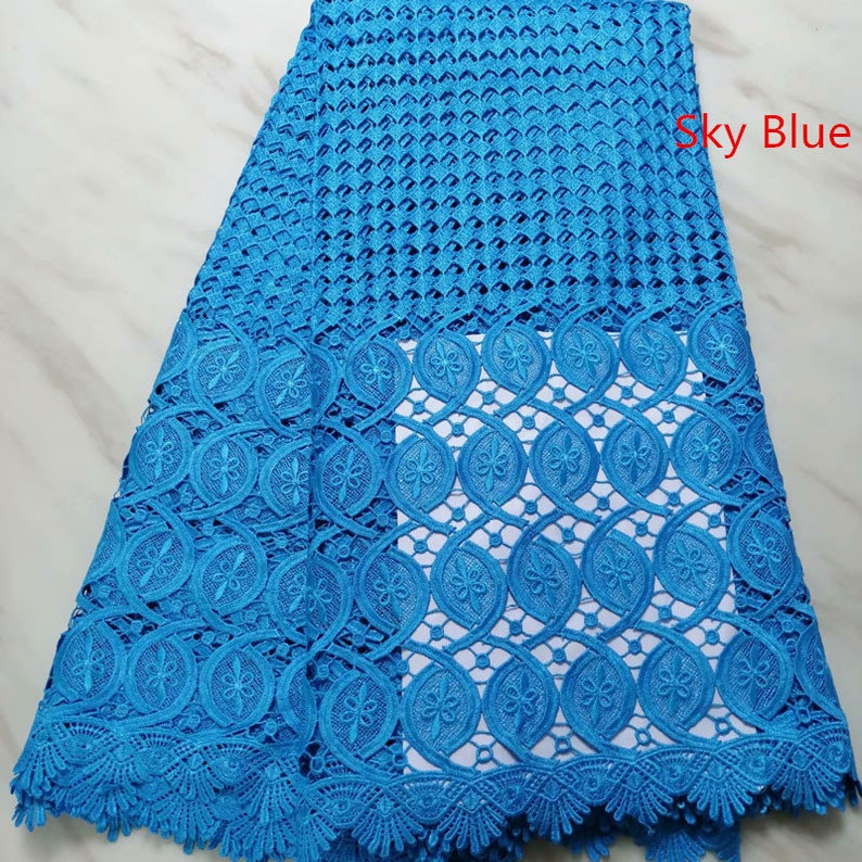 5 yards african fabric for dress in 9 colors high quality water soluble fabric in cord lace