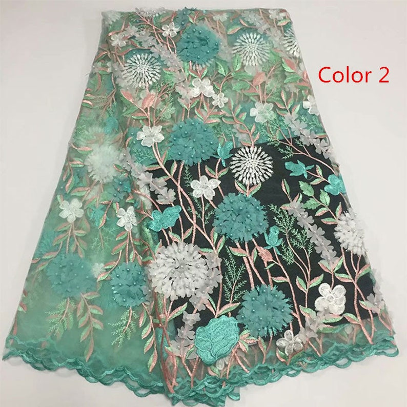 5 yardslot French lace fabric for wedding High quality bridal lace fabric in 3D flower embroidery lace