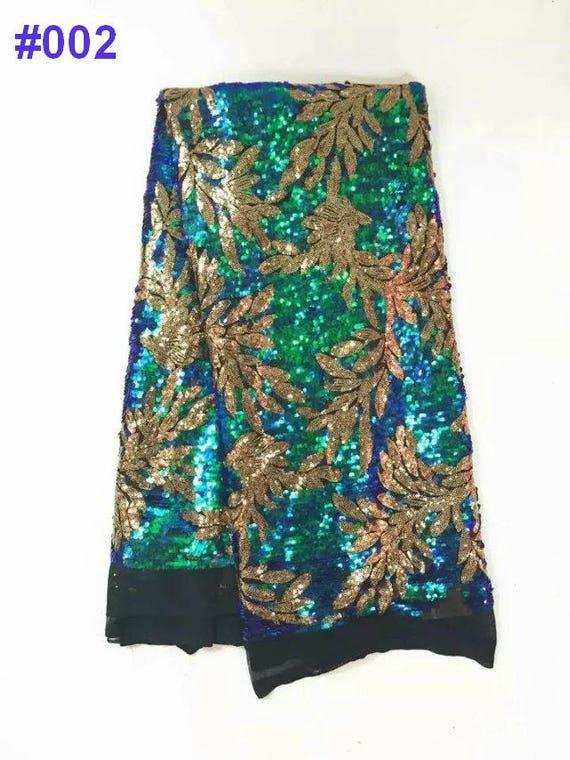paillettes dentelle, de 5 yards /lot dentelle tissu en Français dentelle, paillettes tissu africain en robe de soirée pour le tissu Couture africaine 17b455