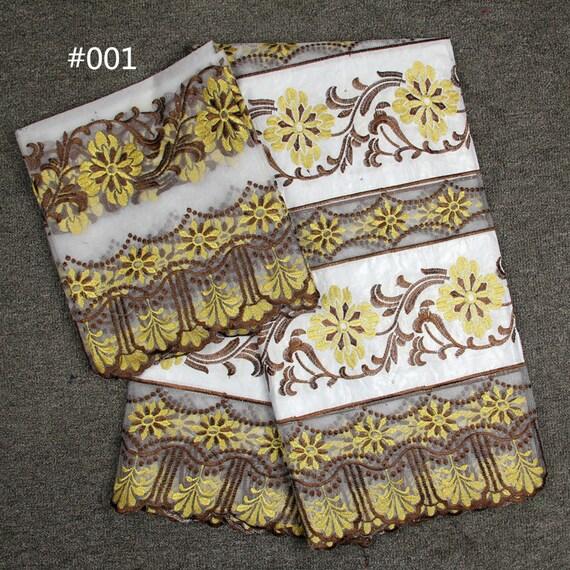 Vente chaude 5 yards bazin riche tissu de dentelle 2 yards yards 2 en ensemble de coloris assorti, tissu africain, tissu Couture 7f840d