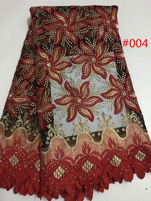 tissu dentelle 5 yards en mode design Français avec dentelle avec Français broderie de dentelle pierres pour robe de mariée b0b3b8
