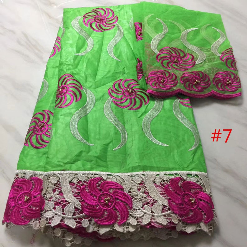 African  bazin riche fabric embroidery 5 yards+2 yards for blouse in african fabric in 8 colors