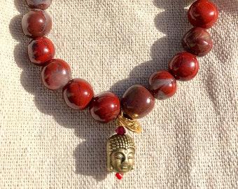 Malabeads gemstones - Yoga - meditation Bracelet - Collection Bracelet * Malabeads * red Jasper and brass Buddha