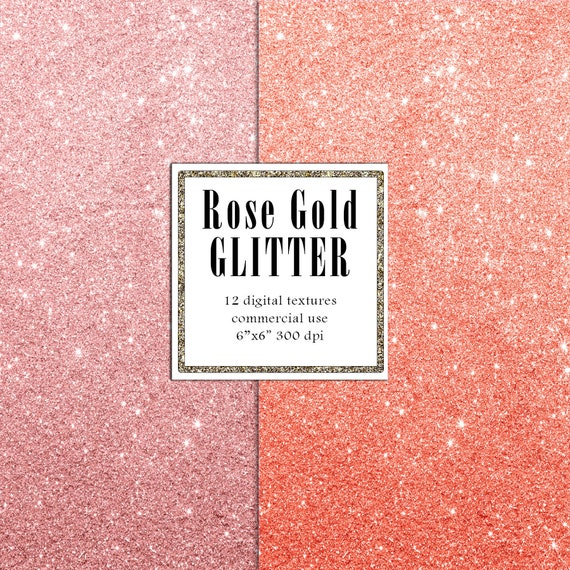 Rose Gold Glitter Paper Pack Digital Paper Glitter Texture Blush Foil for Scrapbook Card Making Decoupage Shine Pattern Background Pink Foil