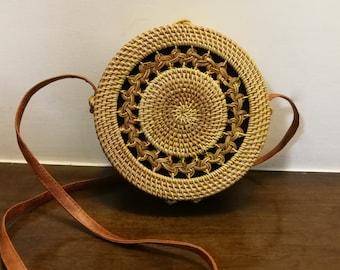 Natural Bag Handmade Straw bag Round Rattan Bag Woven Bag Cross Body bag Shoulder bag Beach Bag Asian Style Bag Middle Size #002 (M)