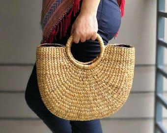 Natural Basket Handmade Straw bag  Water  Hyacinth Bag Woven Bag  Sea Grass Bag Beach Bag top Handle Bag Middle Size