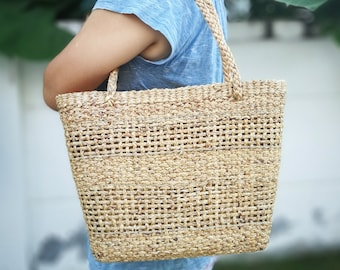 Natural Basket Handmade Straw bag Water Hyacinth Bag Woven Bag Sea Grass Bag  Beach Bag Hand Bag Shoulder Bag Middle size 4 511a799409568