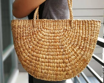 Natural Basket Handmade Straw bag Water Hyacinth Bag Woven Bag Sea Grass Bag  Beach Bag Hand Bag Shoulder Bag 2 c2dca315ff082