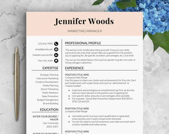 Feminine Resume Template Instant Download Cv Word Marketing With Reference Page Cover Letter CV JW