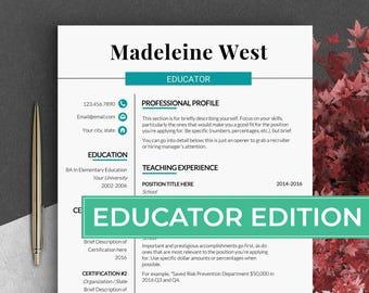 Educator resume template Teacher cv template Principal resume Education resume for teacher Resume teacher Teaching resume Cv template word