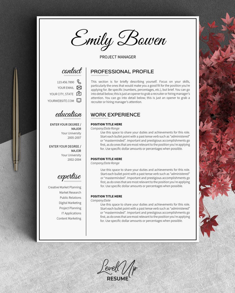 2 Page Resume Template Job Word With