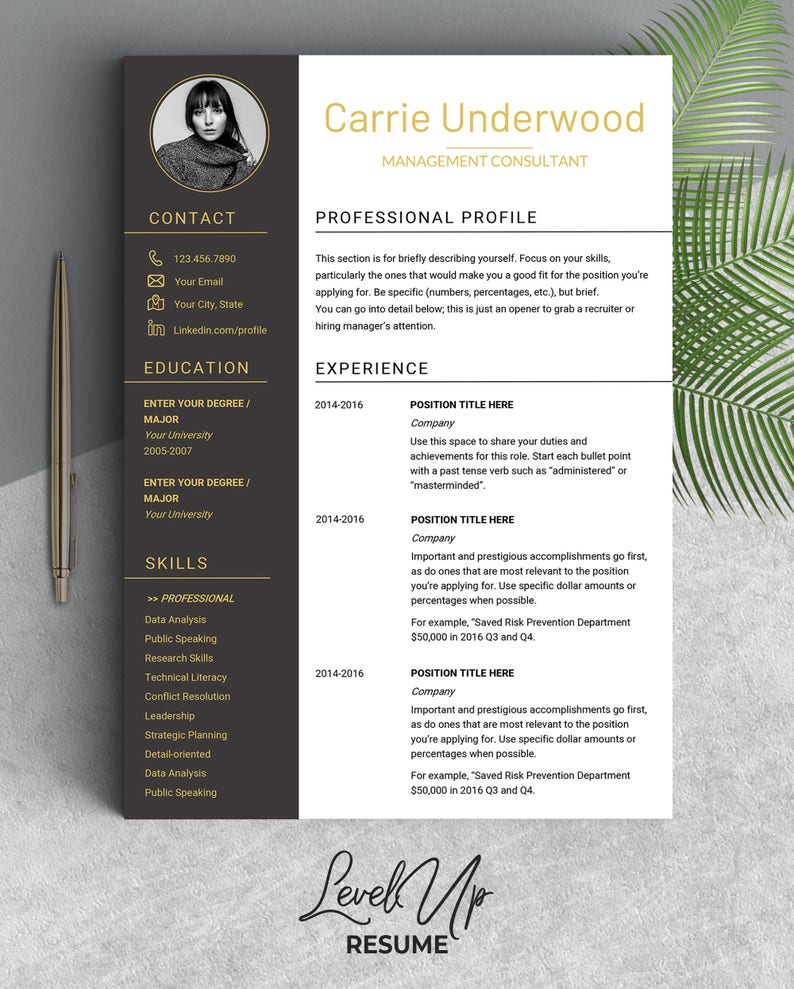 Resume Template Modern With Photo Design