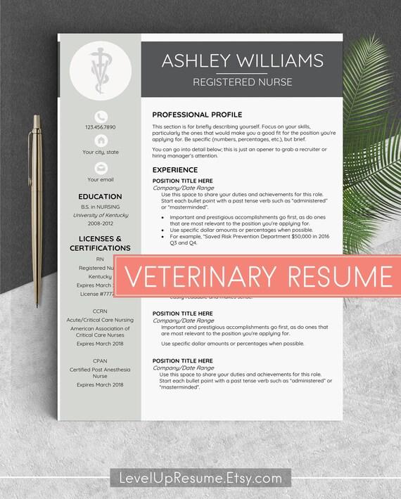 Veterinarian Resume Vet Tech Resume Vet Resume Veterinary Cv Etsy