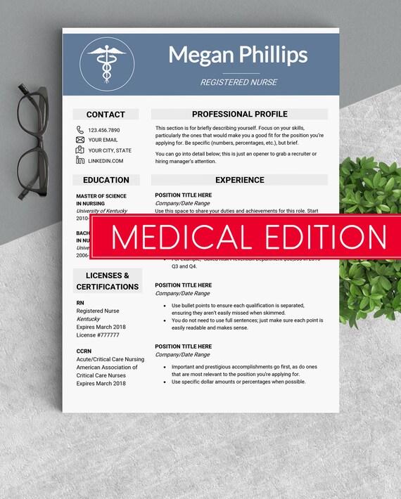Medizinische cv Arzt Lebenslauf Vorlage medizinischen | Etsy