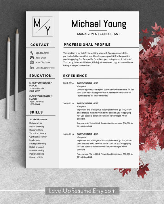 Resume Template Instant Download Cv Template Marketing Resume Manager Professional Resume Templates Management Resume Man Resume For Men