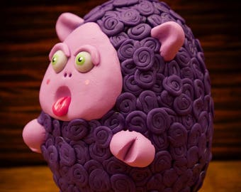 Purple Sheep Clay Sculpture Chumkin Figure