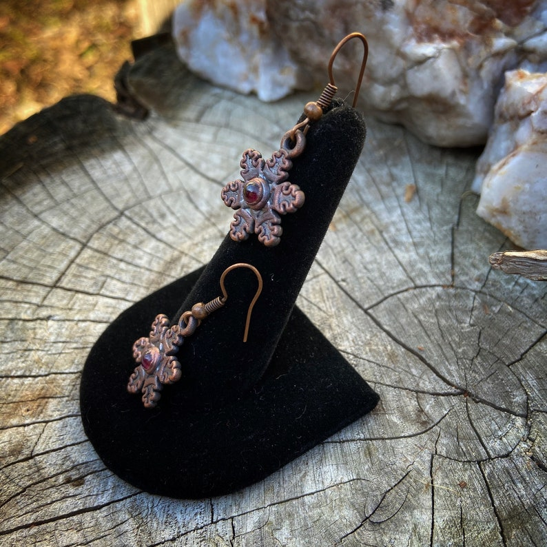 Copper Electroformed Snowflake Earrings with Garnets