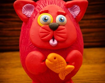 Red Cat with Goldfish Sculpture Chumkin Figure