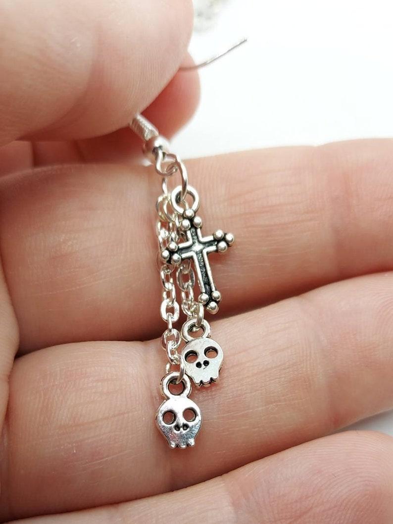 skull jewellery womens earrings gothic earrings Skull earrings skull and crosses dangly earrings dangly skulls gotjic jewellery