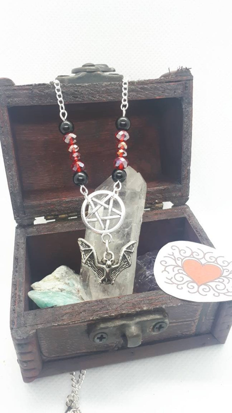 Inverted pentagram bat necklace gothic necklace Halloween image 0