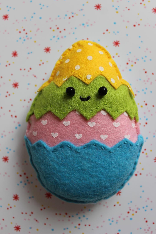 Easter Egg Handmade Felt Egg Kawaii Decoration Figurine Colorfull Small Cute Easter Decoration Home Decoration