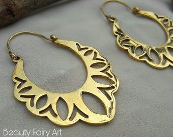 Hoops,Tribal earrings,Gypsy earrings,Etnic earrings,Bohemian  earrings,Belly dance jewelry,Brass boho earrings,Hoop earrings,India jewelry
