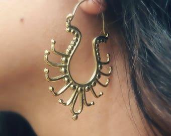 Tribal hoops,boho earrings,ethnic earrings,uniqe earrings,gypsy earrings,gypsy hoop,bohemian earrings,dotted ear hoop,brass earrings