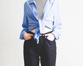Sky blue oversized shirt // patterned buttons // 1990's blouse // cute // sassy