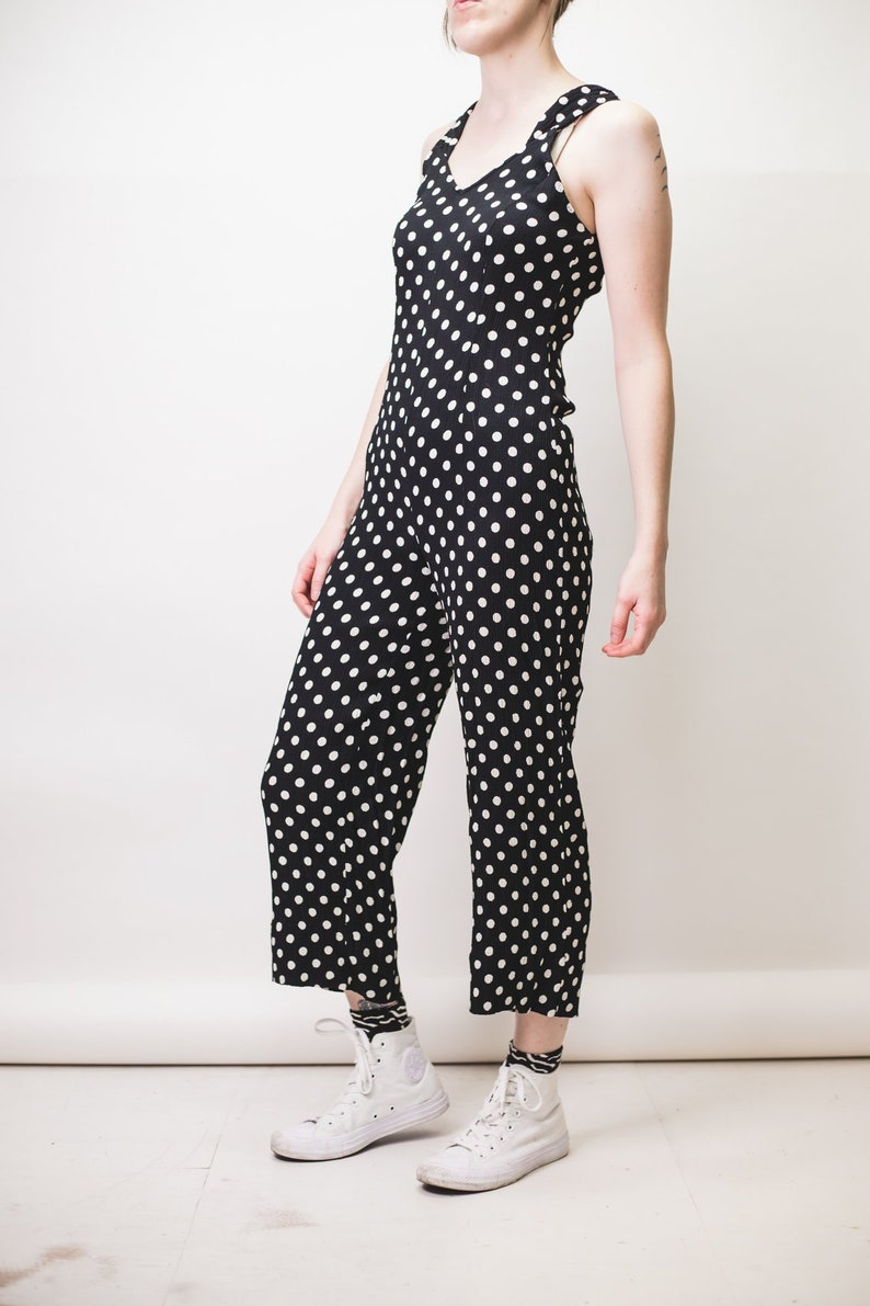 5dc30424840 Black and White polkadot jumpsuit in crinkle crepe fabric with