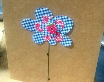 Just for you 'blue flower red Strawberry ' greeting card.