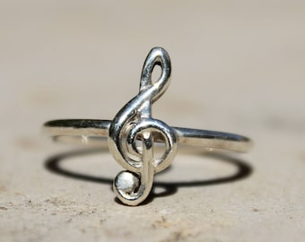 thin dainty ring for her, music note ring, dainty minimal ring women, G clef ring, key ring for her, symbolic silver ring gift for musicians