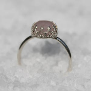Pink Stacking Ring Pink Stone Ring Sterling Silver Ring Pink Silver Ring for Women Pink Promise Ring for Her Dainty Ring
