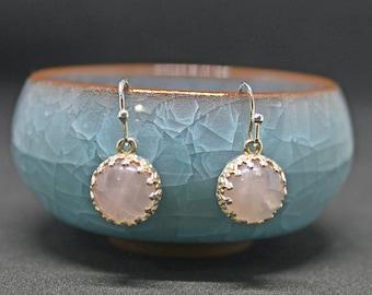 pink blush earrings, rose quartz earrings, pink earrings, silver dainty earrings, blush stone earrings, silver earrings, love stone earrings