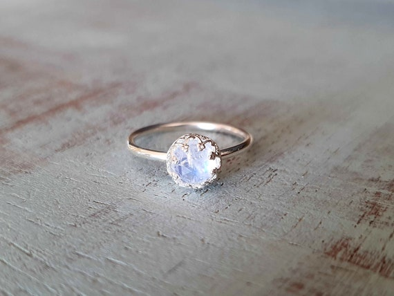 Simple Ring solitaire ring moonstone Ring engagement ring Tiny ring promise ring casual ring blue moonstone ring Rainbow Moonstone
