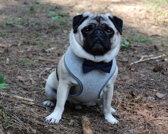 Grey Felted Wool Dog Harness, Navy Bow Tie, Wedding Dog, Handmade Harness, Bow Tie Harness, Frenchie Harness, Pug Harness, Dog Harnesses