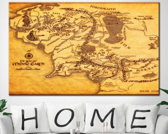 Middle earth map canvas   Etsy