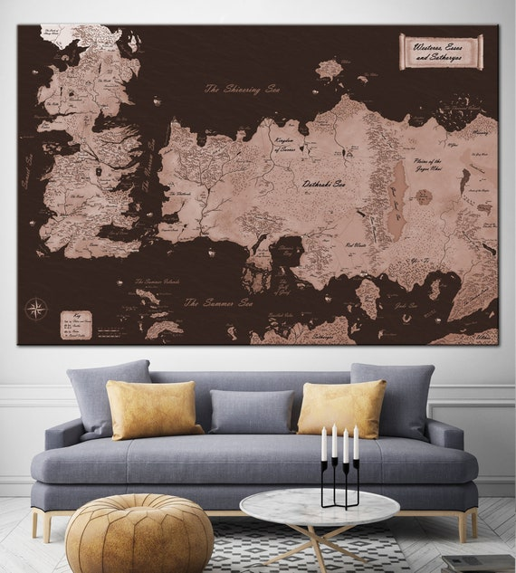 Map Game of Thrones Print Canvas The Known World Map Canvas Print Map Game Of Thrones Map The Known World on game of thrones continents, sca known world map, ice and fire world map, game of thrones world map pdf, game of thrones chart, game of thrones maps and families,