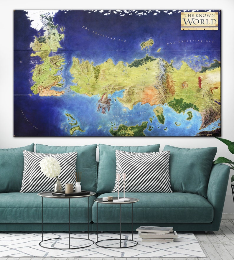 Map Of The Known World Canvas Map Colorful Map Game of Thrones Poster Game Of Thrones Known World Map on game of thrones continents, game of thrones chart, ice and fire world map, game of thrones world map pdf, game of thrones maps and families, sca known world map,