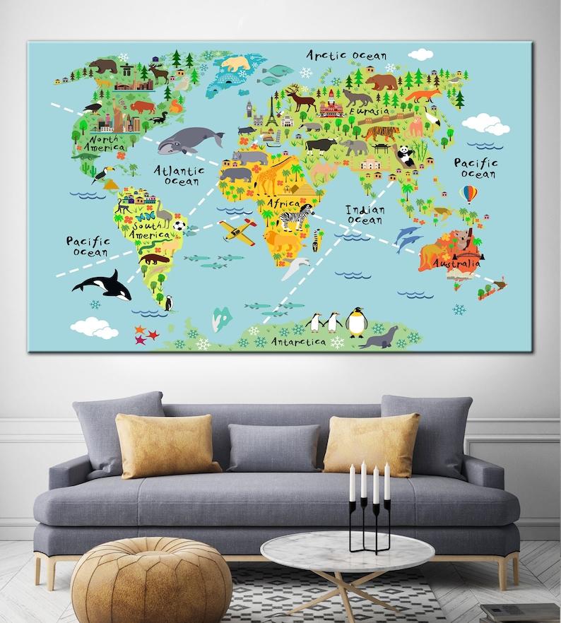 Nursery World Map Nursery Map Kids Room Decor Nursery Decor | Etsy