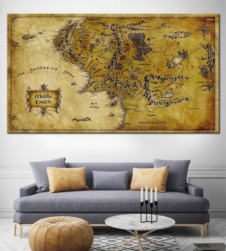 Detailed Map Lord Of The Rings Map Of Middle Earth Detailed | Etsy