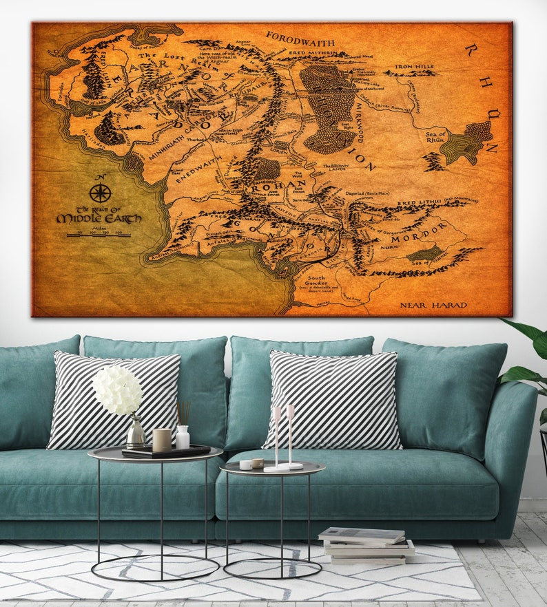 Map Of Middle Earth Movie Map Middle Earth Map Canvas Poster | Etsy