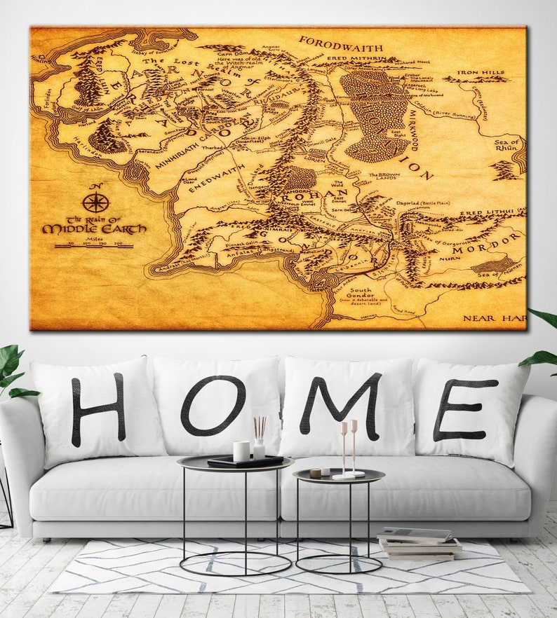 Middle Earth Map Canvas Poster Map Middle Earth Detailed Map | Etsy