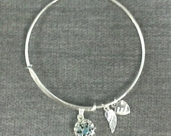Bangle Bracelet With 1 Snap And Hanging Charms Etsy