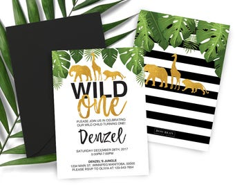 Tropical SafariWild One First Birthday InvitationSafari InvitationZoo Wild InvitationElephant InviteGirafe Invitation Boy Safari