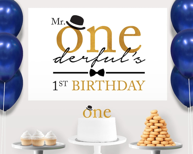 Gold Mr ONEderful Cake Table Little Man Birthday Decorations
