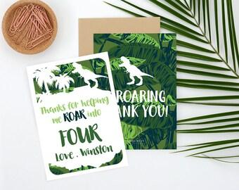Dinosaur Birthday Thank you Card, Dinosaur thank you, Dinosaur Birthday Party, Dino Invitation, Dinosaur, thank you card, dino thank you