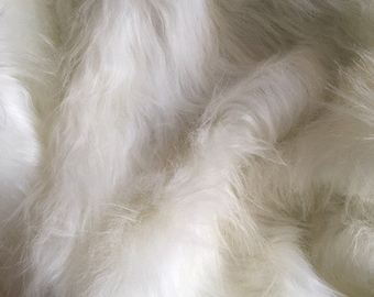 White Faux Long Pile Fur Fabric Toys Costumes Width 12x19