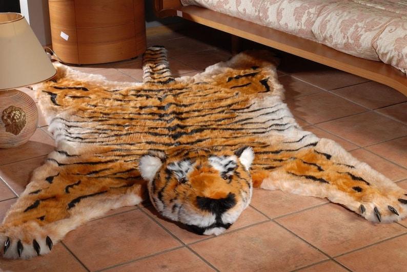 7b8b474a Fake Faux Fur Man made Tiger skin RUG LARGE NWT Size   Etsy